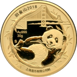 San Francisco 2018 Gold 30g Panda, Golden Gate Bridge